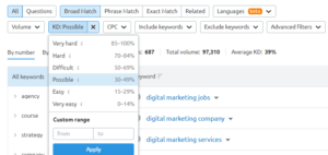 Sort and Filter Your Keywords